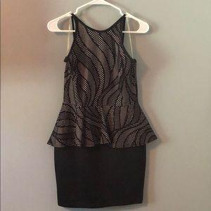 A'GACI Peplum High Neck Stretch Short Dress